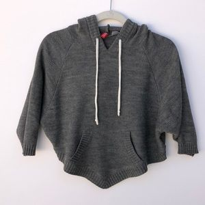 Divided Cropped Gray Sweater Hoodie